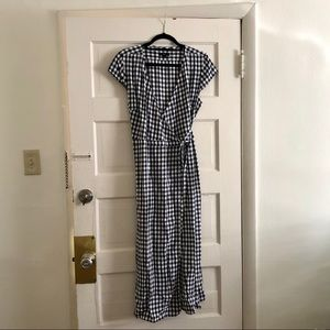 Midi wrap dress in soft rayon gingham